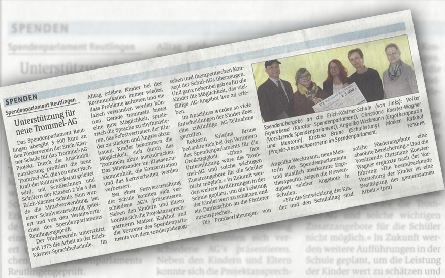 Spende an Förderverein der Erich-Kästner-Schule e.V. für Trommel-AG Projekt