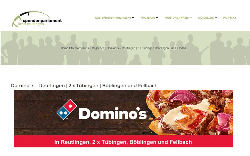 Neuer Mentor im Spendenparlament – Domino's Reutlingen, Tübingen, Böblingen, Fellbach
